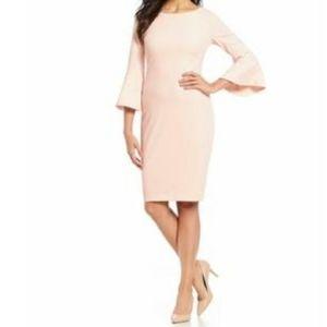 Calvin Klein Pink Blossom Bell Sleeves Crepe Dress
